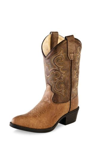 Old West Kids Western Cowboy Boots Crackle Leather Pointed T