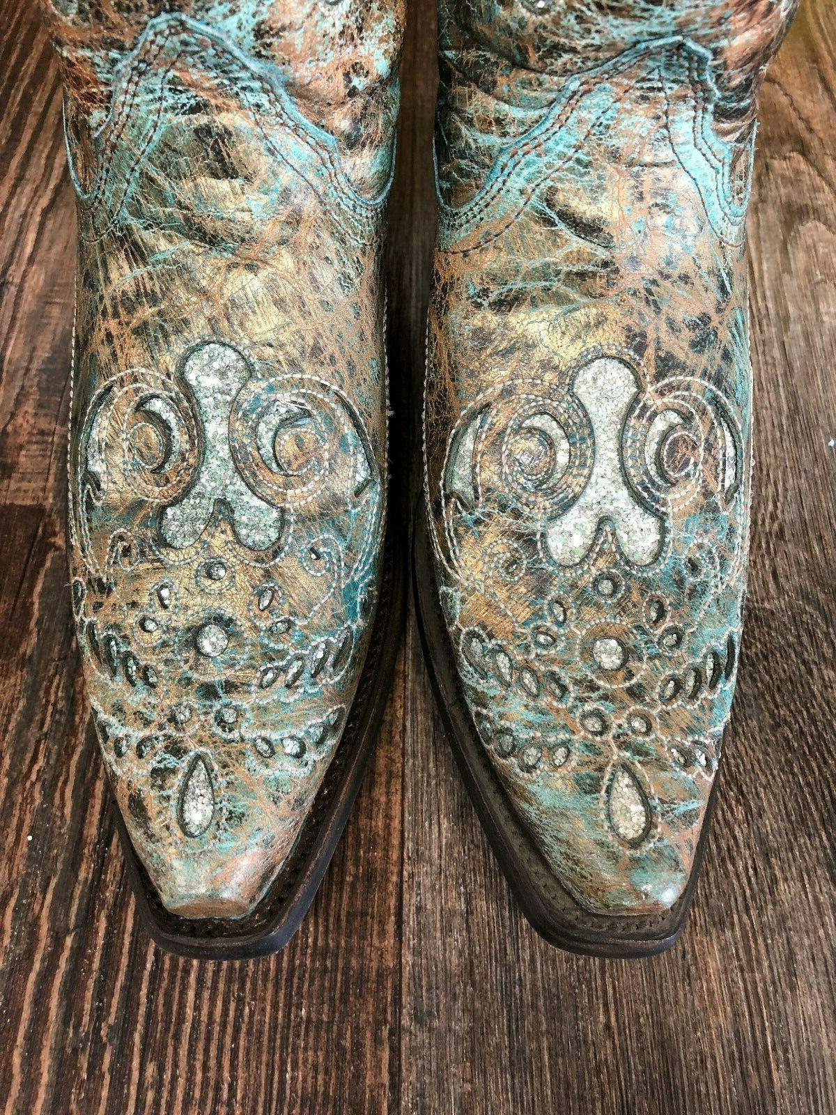 Ladies Brown/Turquoise Boots with