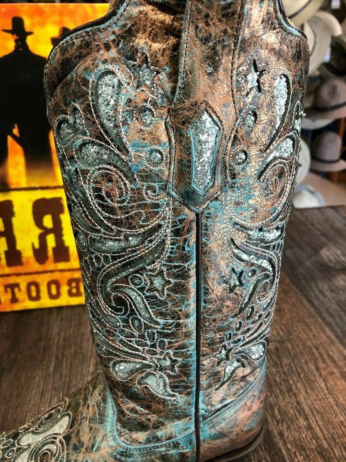 Ladies Corral Brown/Turquoise Boots with