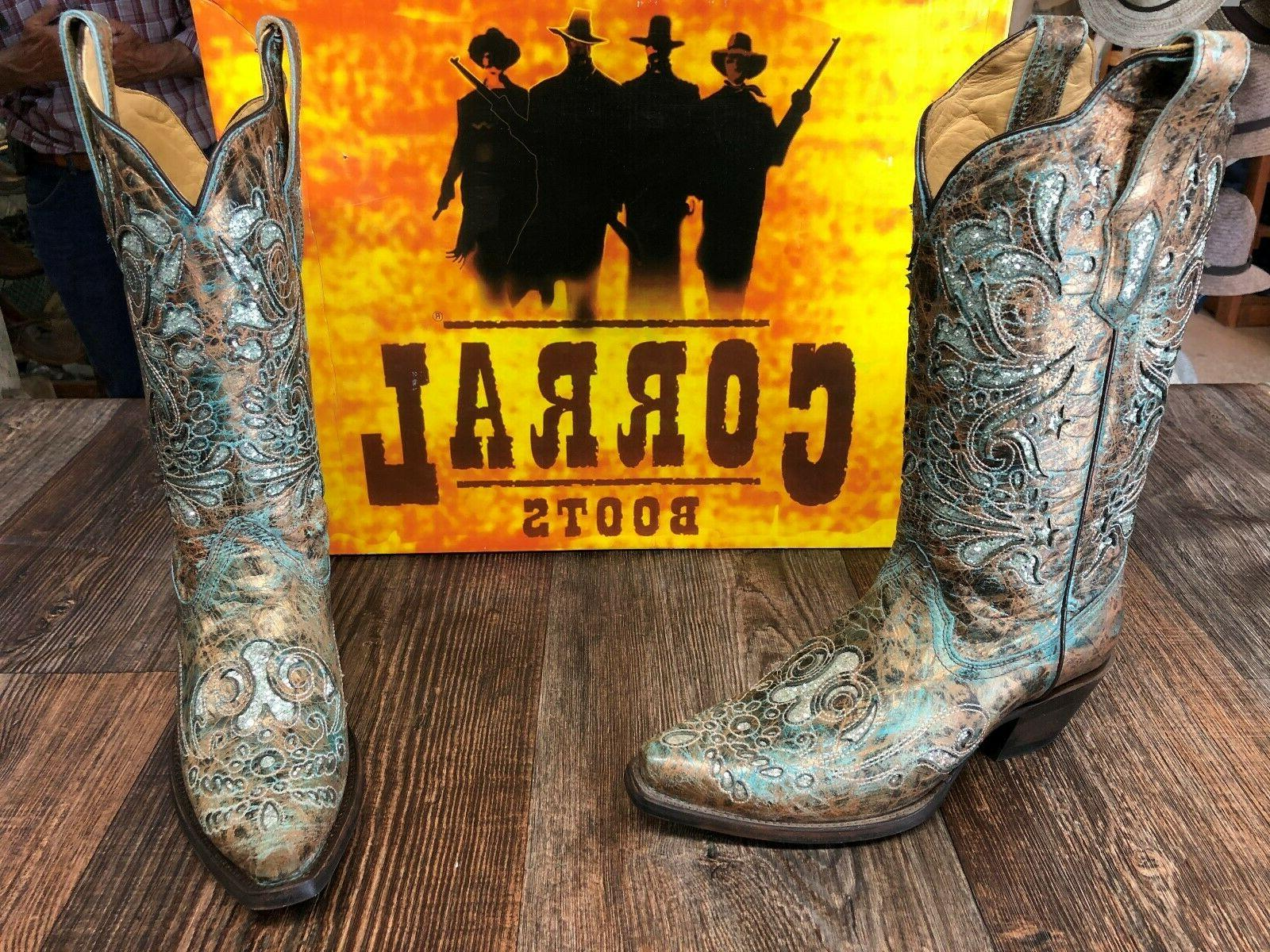 ladies corral brown turquoise western boots
