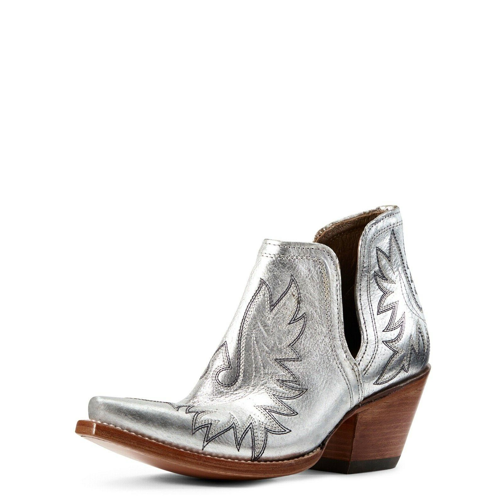 ladies dixon silver metallic western ankle boots