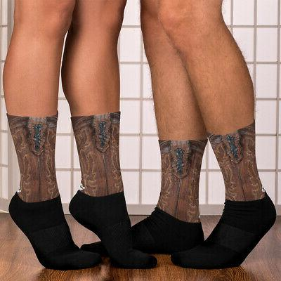 Leather Cowboy Comfortable & Socks Cushioned Socks