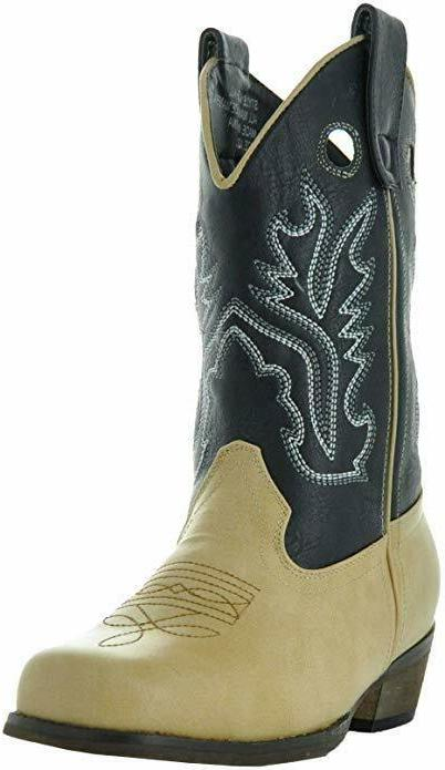 Country Love Boots Kids Two-Tone Square Cowboy Boots 3 Little