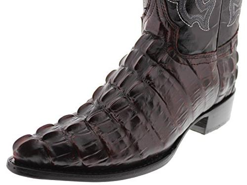 Team - Black Cherry Crocodile Tail Leather Cowboy Boots