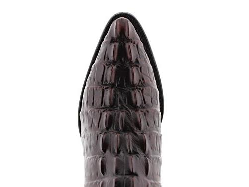 Team - Black Cherry Crocodile Tail Leather Boots Toe 12 2E