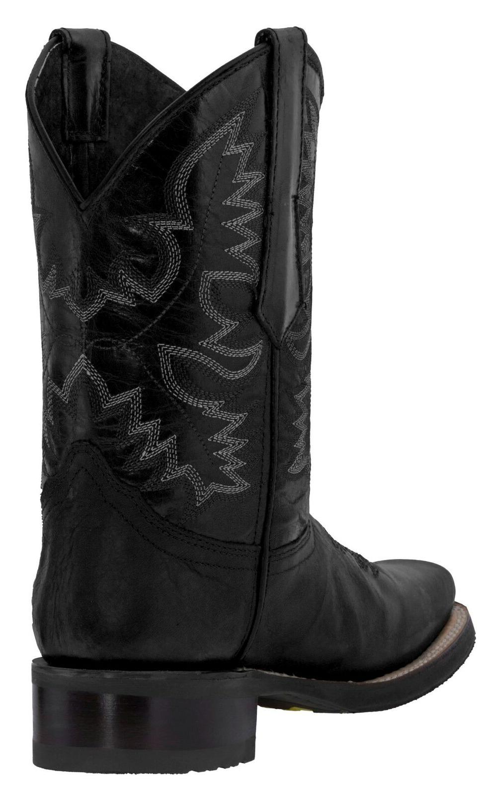 Mens Cowboy Black Real Leather Rodeo Square