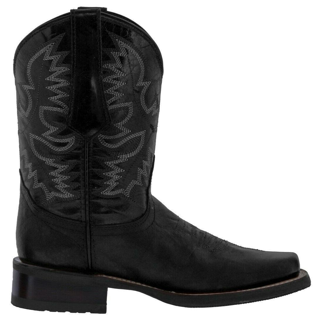 Mens Black Leather Rodeo Toe
