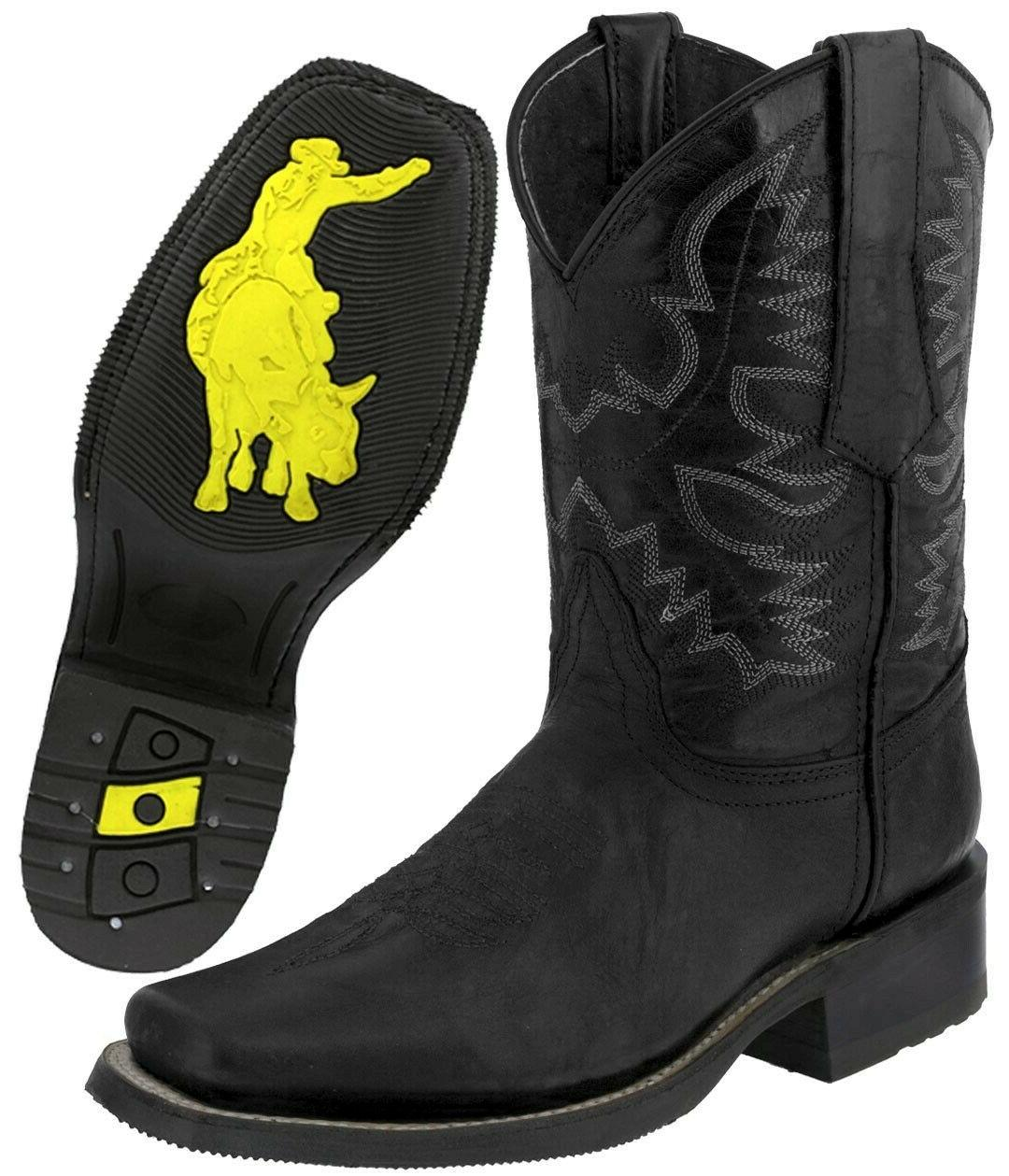 mens western cowboy boots black real leather