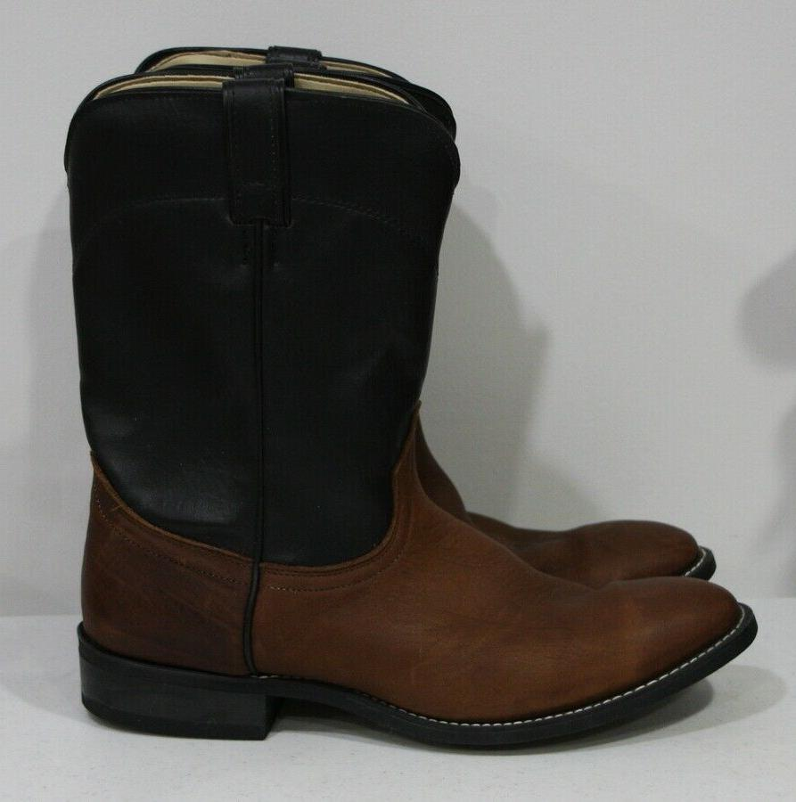 Men's LAREDO brown black leather pull on boots western work
