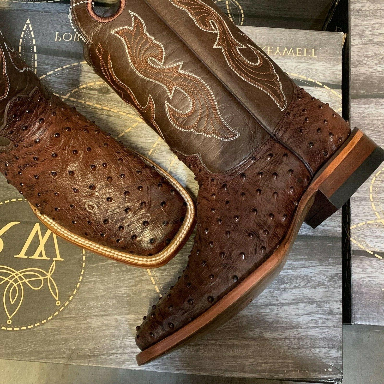 MEN'S OSTRICH QUILL LEATHER RODEO EXOTIC COWBOY TOE BOTAS