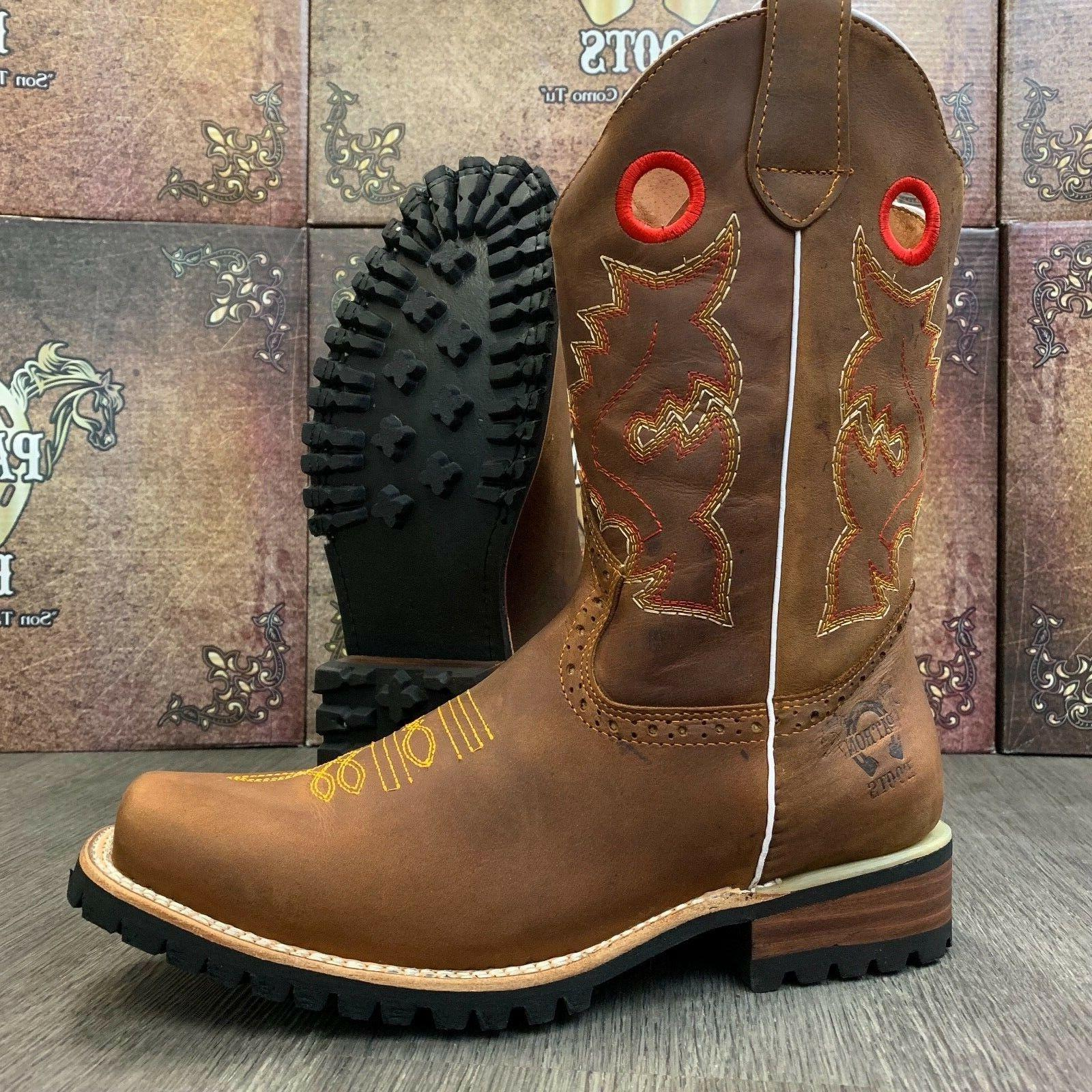 MEN'S BOOTS COWBOY SQUARE LEATHER TRACTOR SOLE