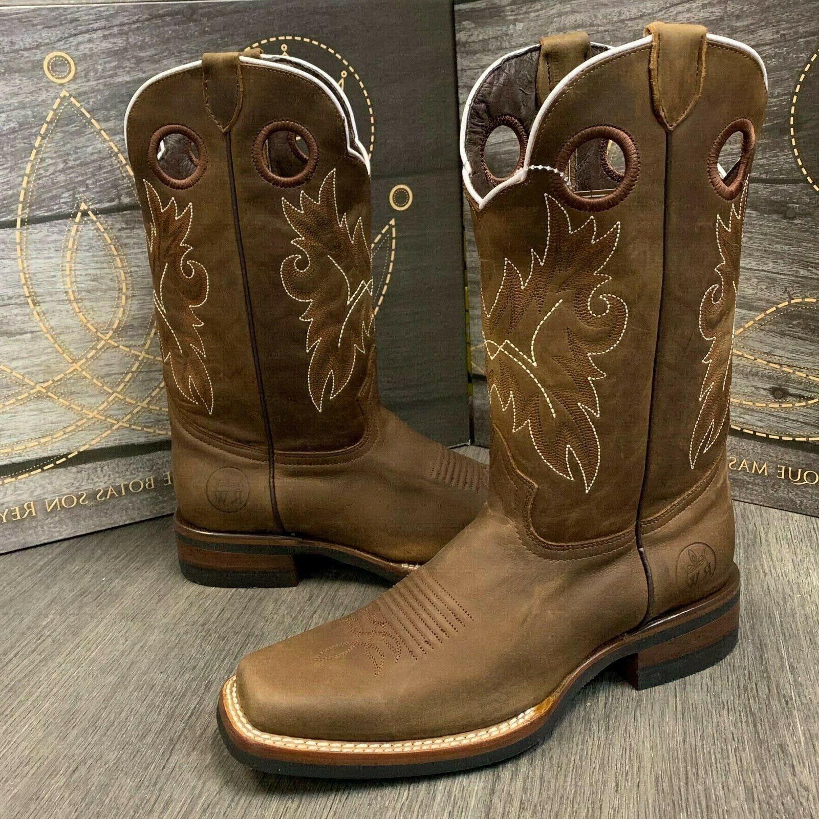 MEN'S BOOTS WESTERN COWBOY SQUARE REAL LEATHER BOTAS