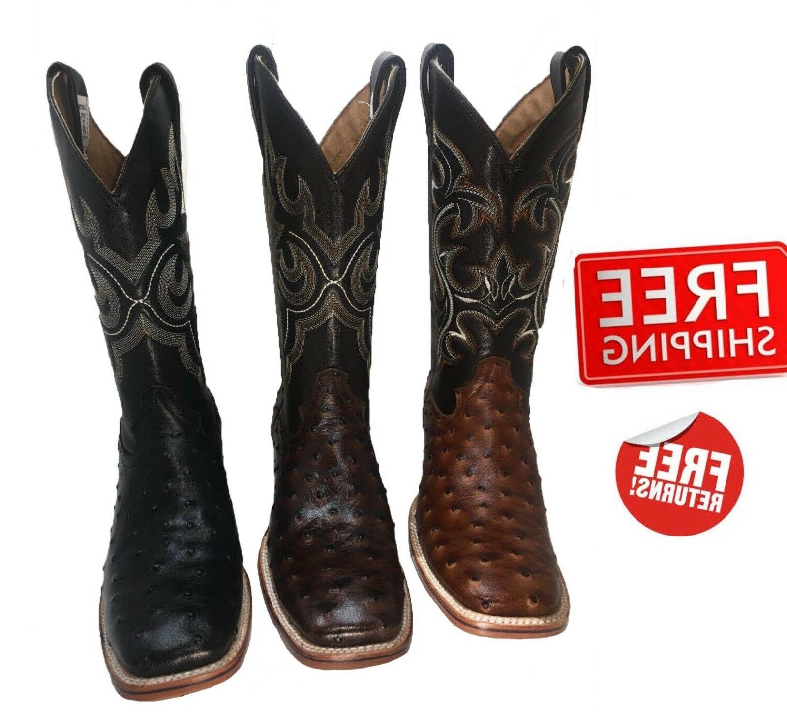 men s cowboy boots ostrich print leather