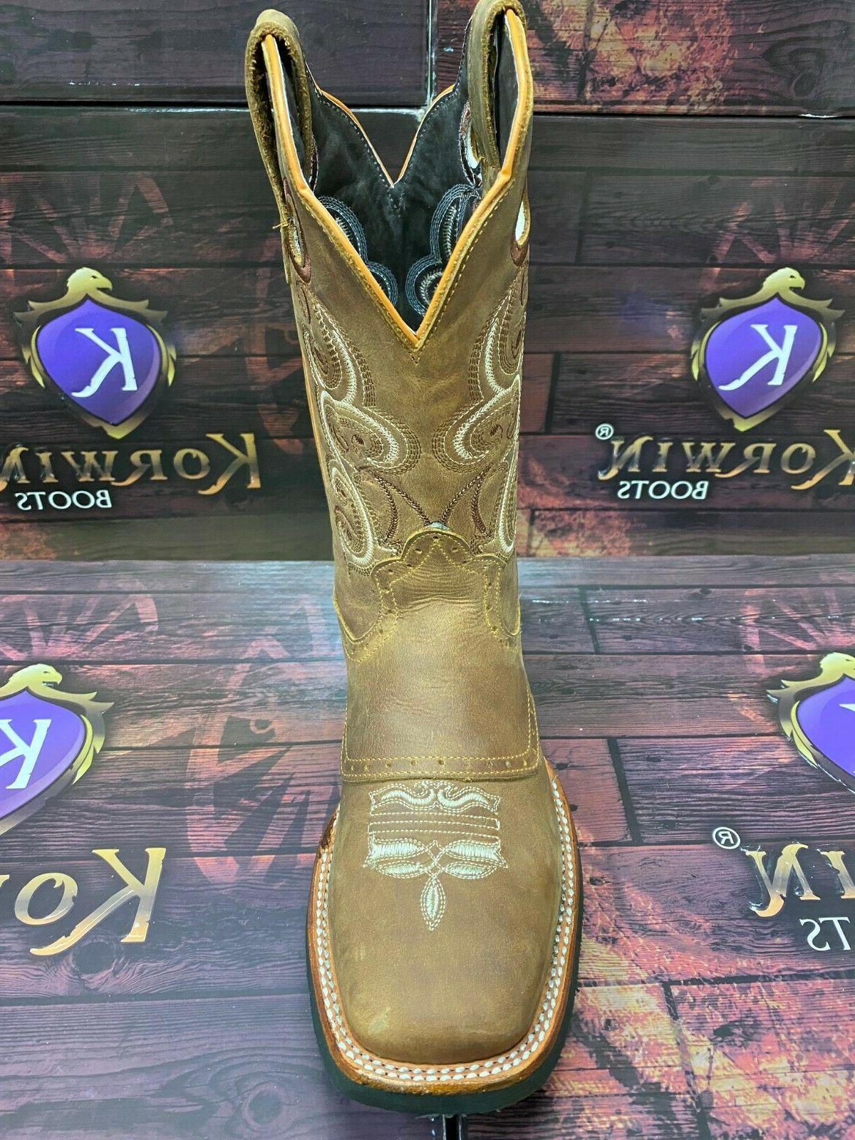 Men's Cowboy Rodeo Boots Square Toe Genuine Leather Western Botas