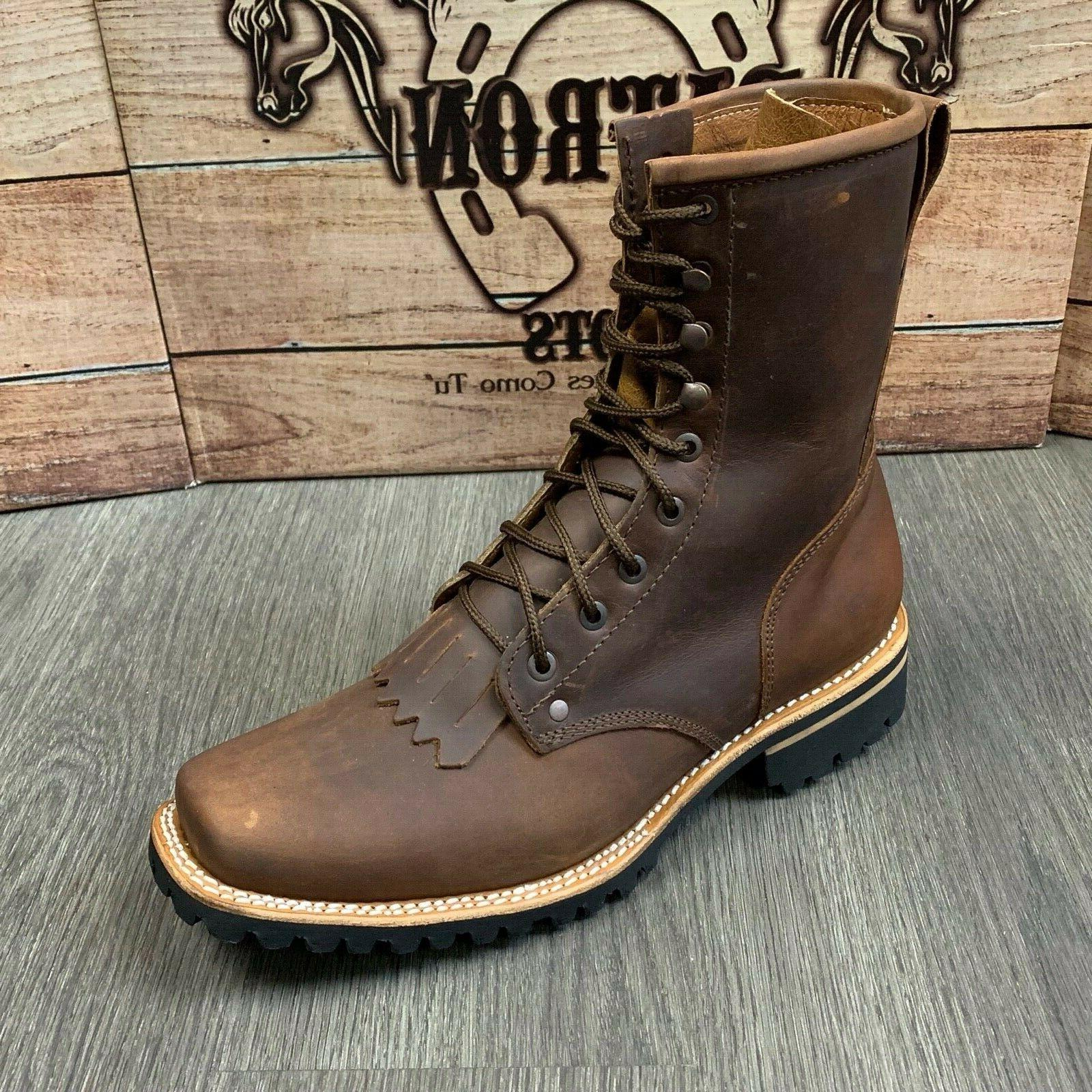 """MEN'S LACER WORK BOOTS WESTERN SOFT BROWN RUBBER 8"""" SOFT SQUARE T"""