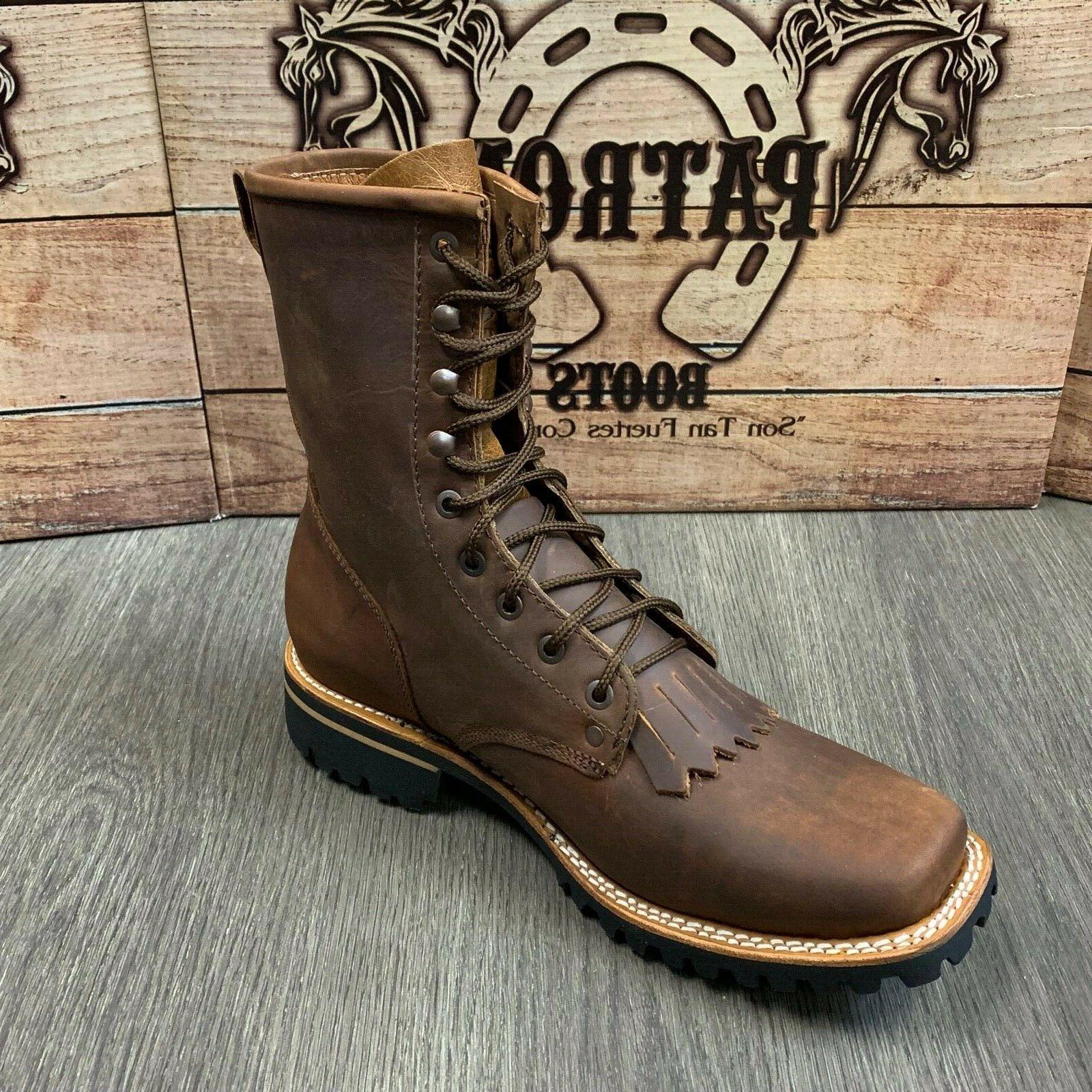 MEN'S LACER WESTERN BROWN RUBBER SOLE SQUARE