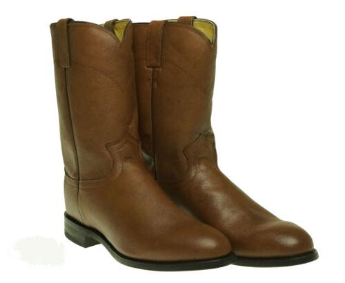 "Justin Boots Men's Leather Western 10"" Roper Cowboy Boots Ta"
