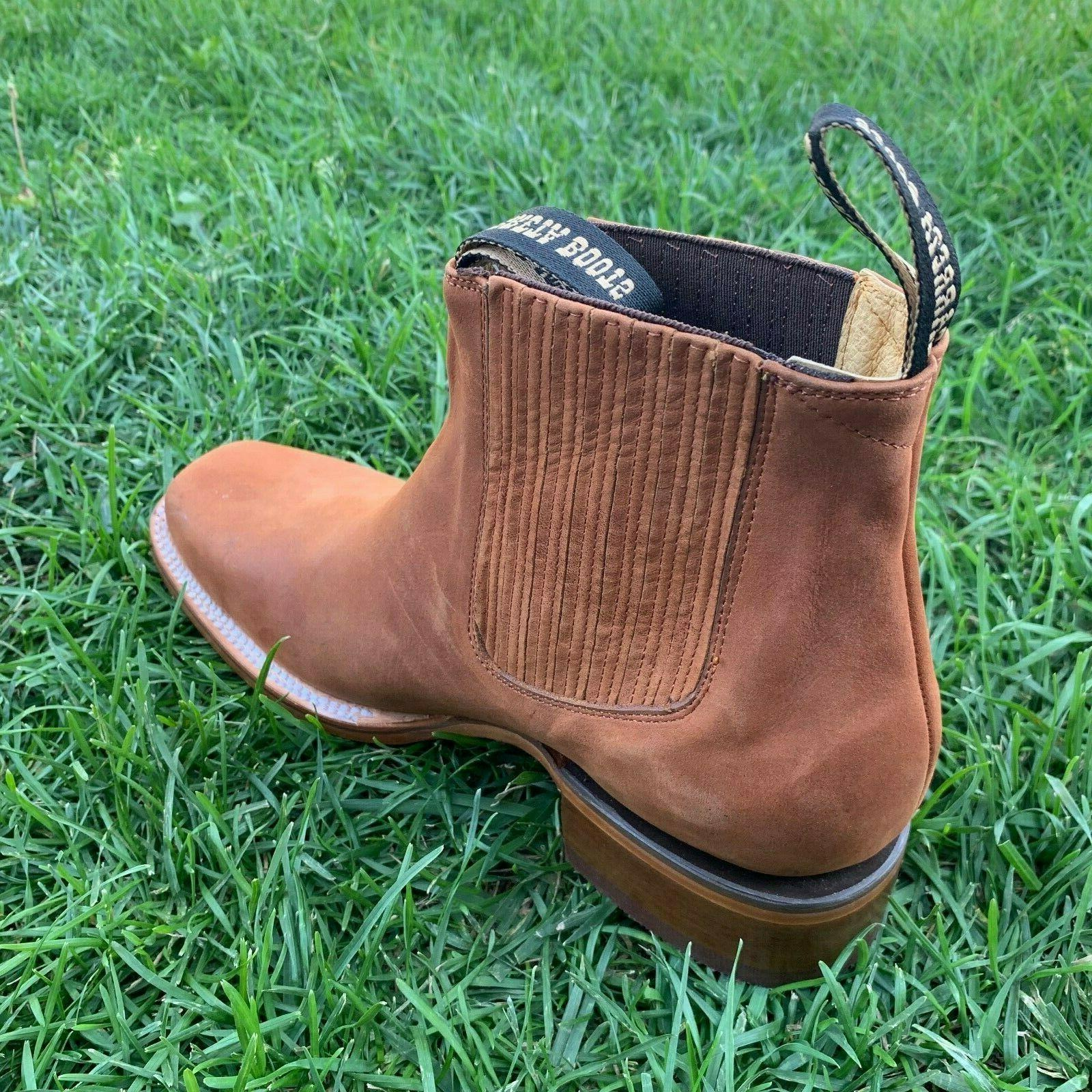 MEN'S LEATHER ANKLE-SQUARE BOOTS