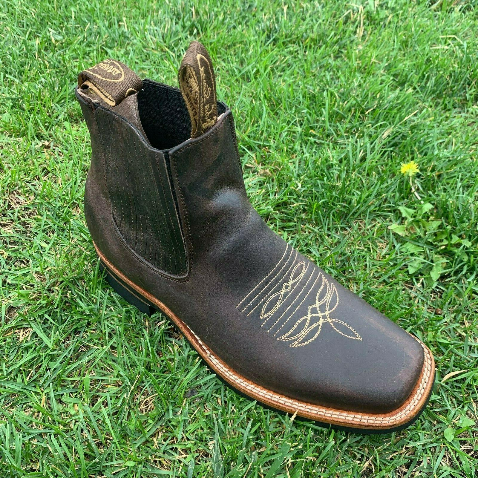 MEN'S WESTERN COWBOY RODEO SLIP ON ANKLE-SQUARE BOOTS BROWN