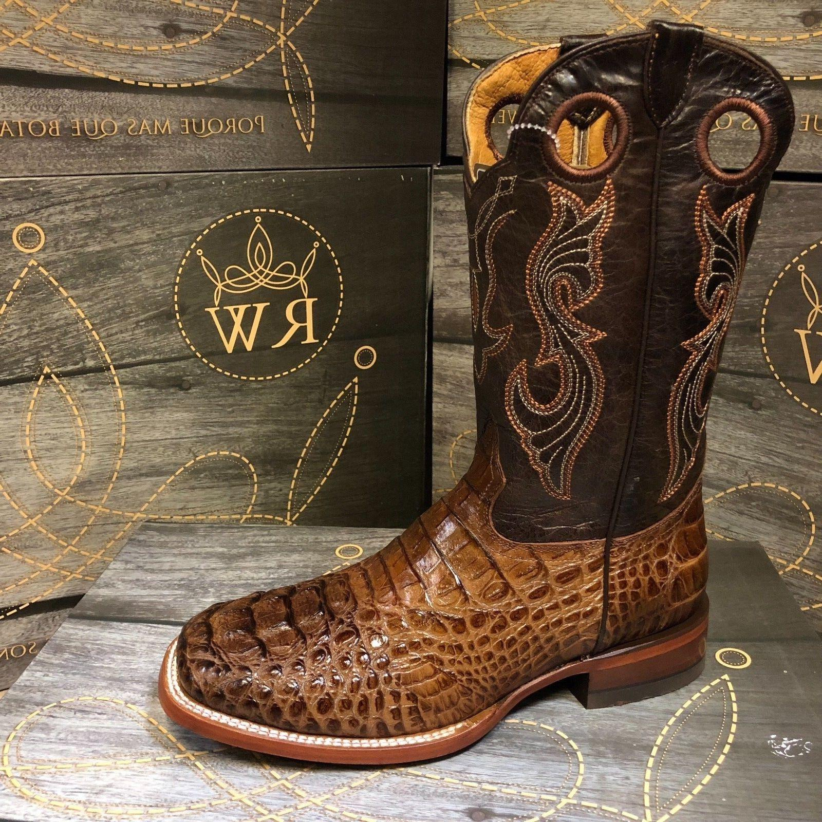 MEN'S ALLIGATOR PRINT SQUARE TOE BOOTS BROWN