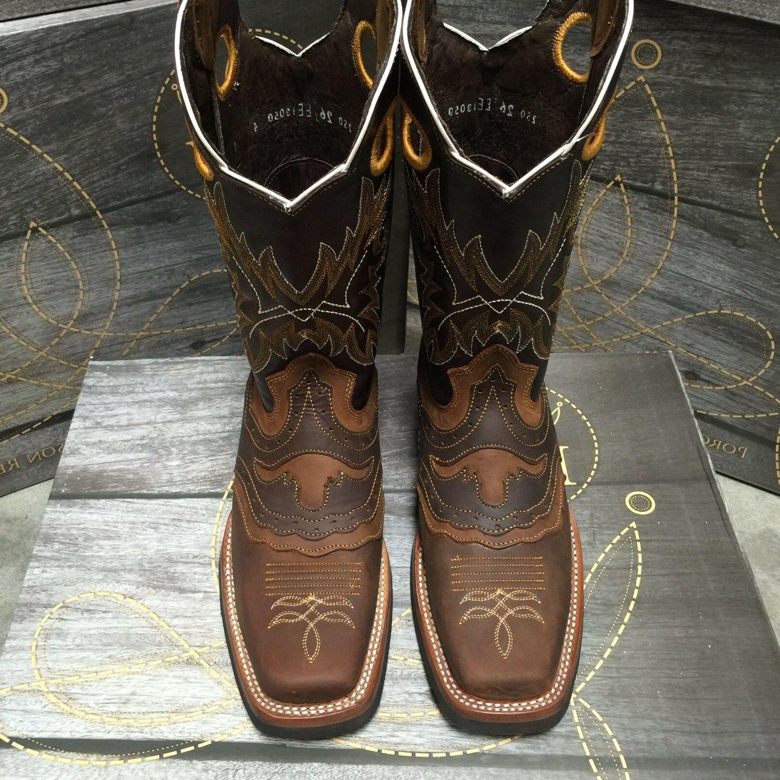 MEN'S RODEO BOOTS GENUINE WESTERN SQUARE TOE BOOTS