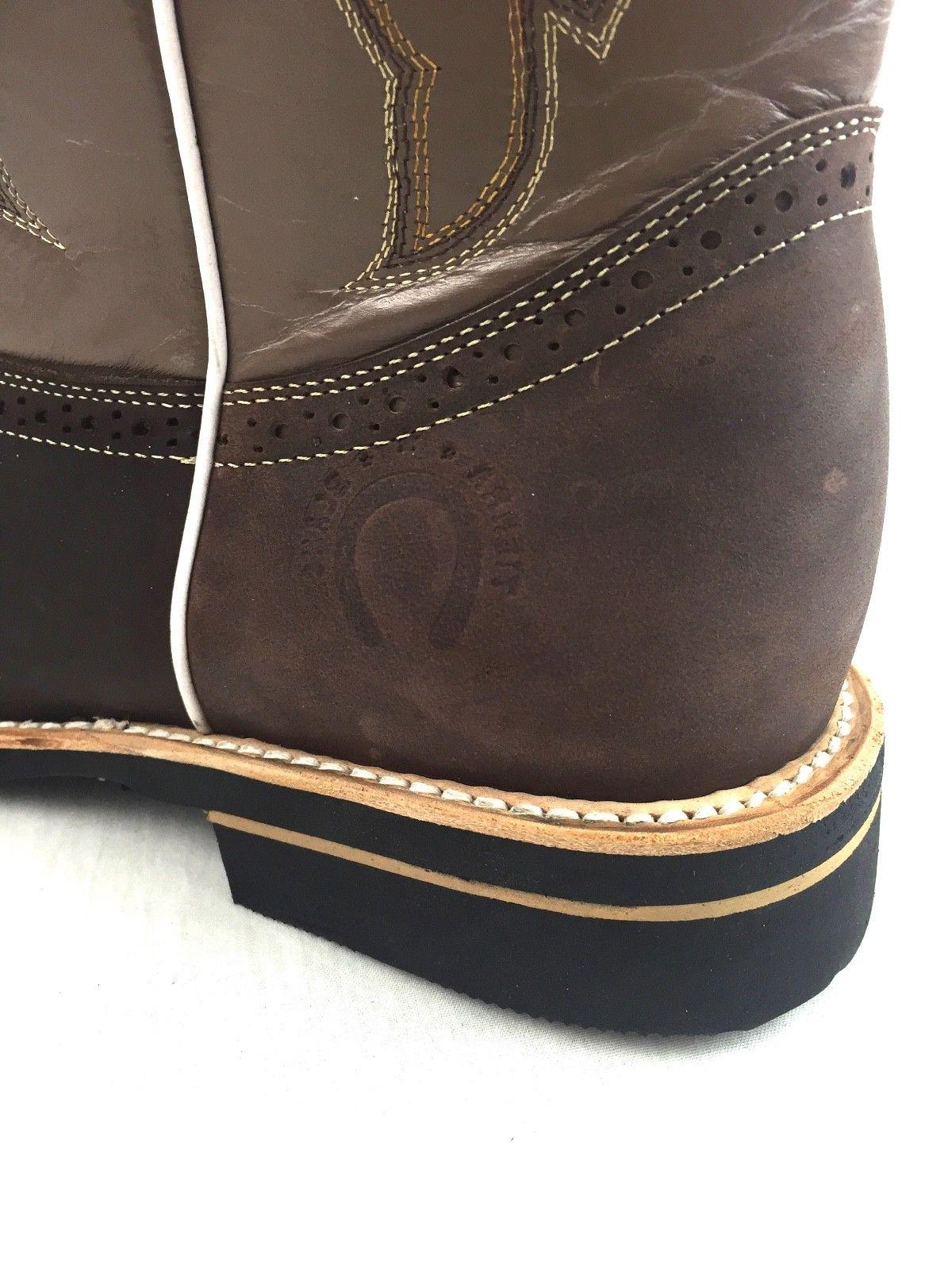 MEN'S RODEO COWBOY GENUINE LEATHER TOE BOOTS DARK BROWN