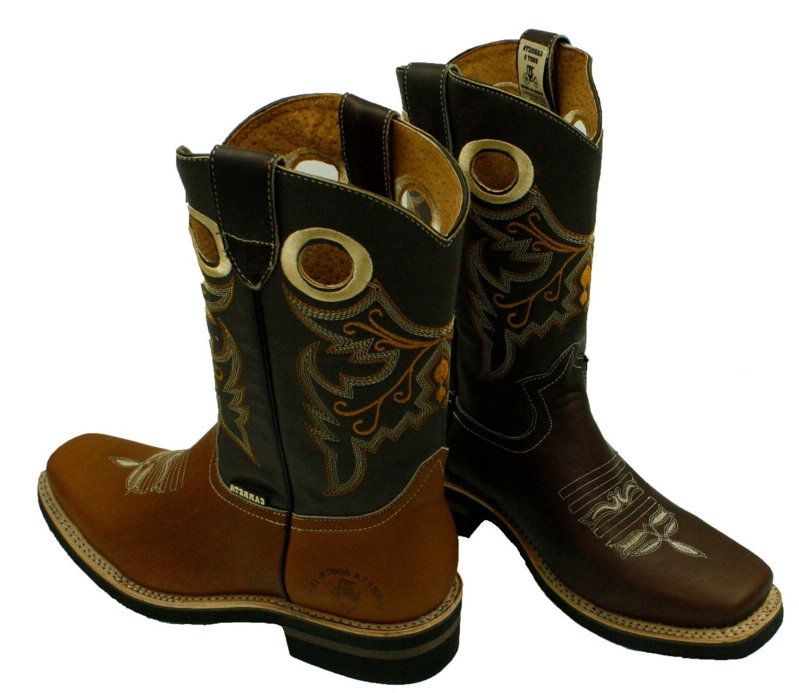 MEN'S RODEO BOOTS GENUINE WESTERN SQUARE TOE