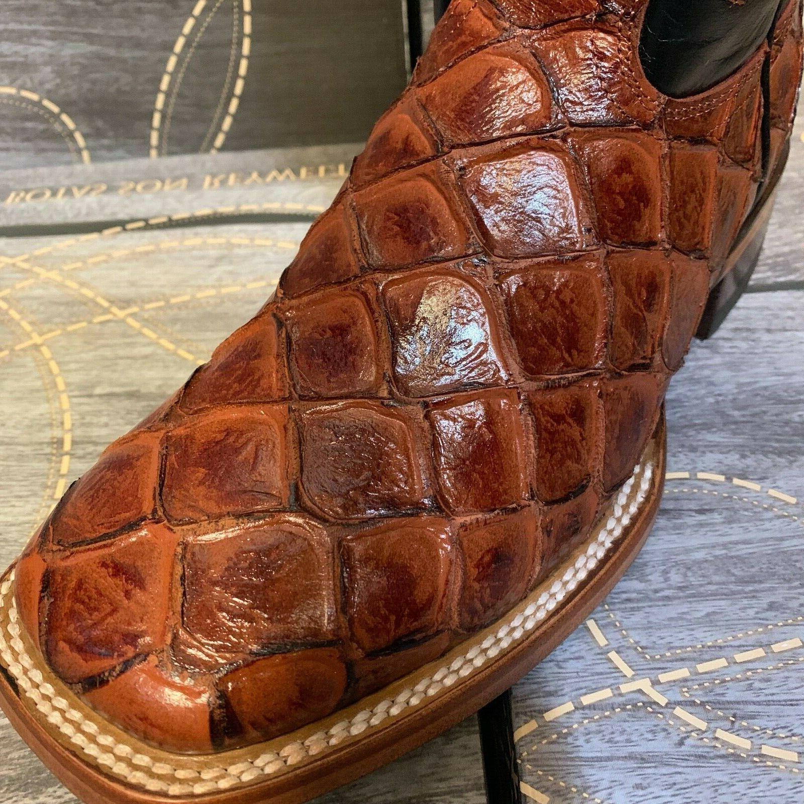 MEN'S RODEO FISH PIRARUCU PRINT WESTERN TOE BOOTS COGNAC BOTAS