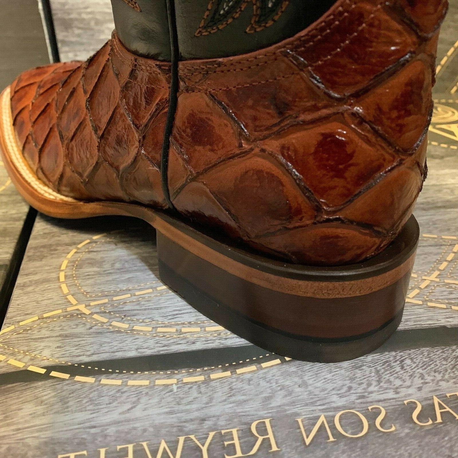 MEN'S RODEO PIRARUCU TOE BOOTS COGNAC