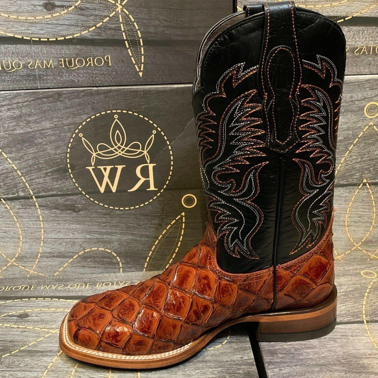 MEN'S COWBOY PIRARUCU PRINT TOE BOTAS