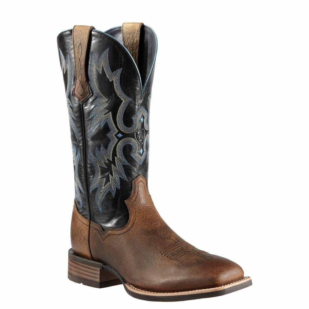 MEN'S ARIAT WIDE SQUARE TOE TOMBSTONE WESTERN BOOTS 10011785