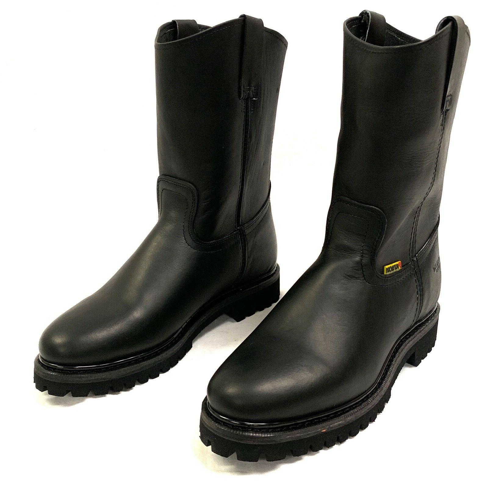 MEN'S BOOTS LEATHER BLACK COWBOY PULL ON