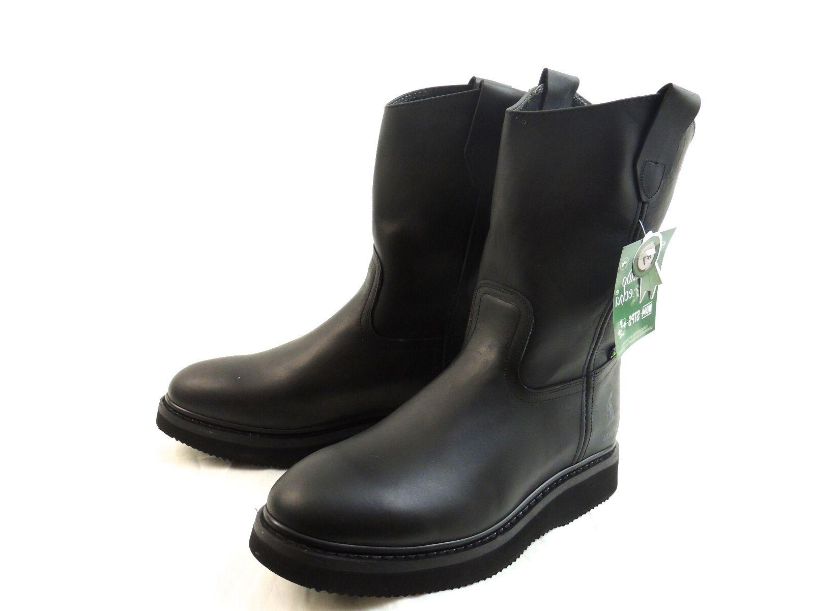 MEN'S WORK LEATHER BLACK BOOTS PULL ON