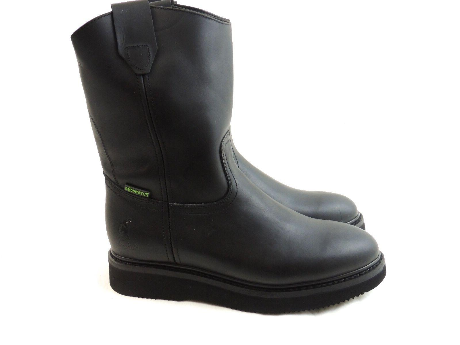 MEN'S WORK BOOTS LEATHER BLACK BOOTS