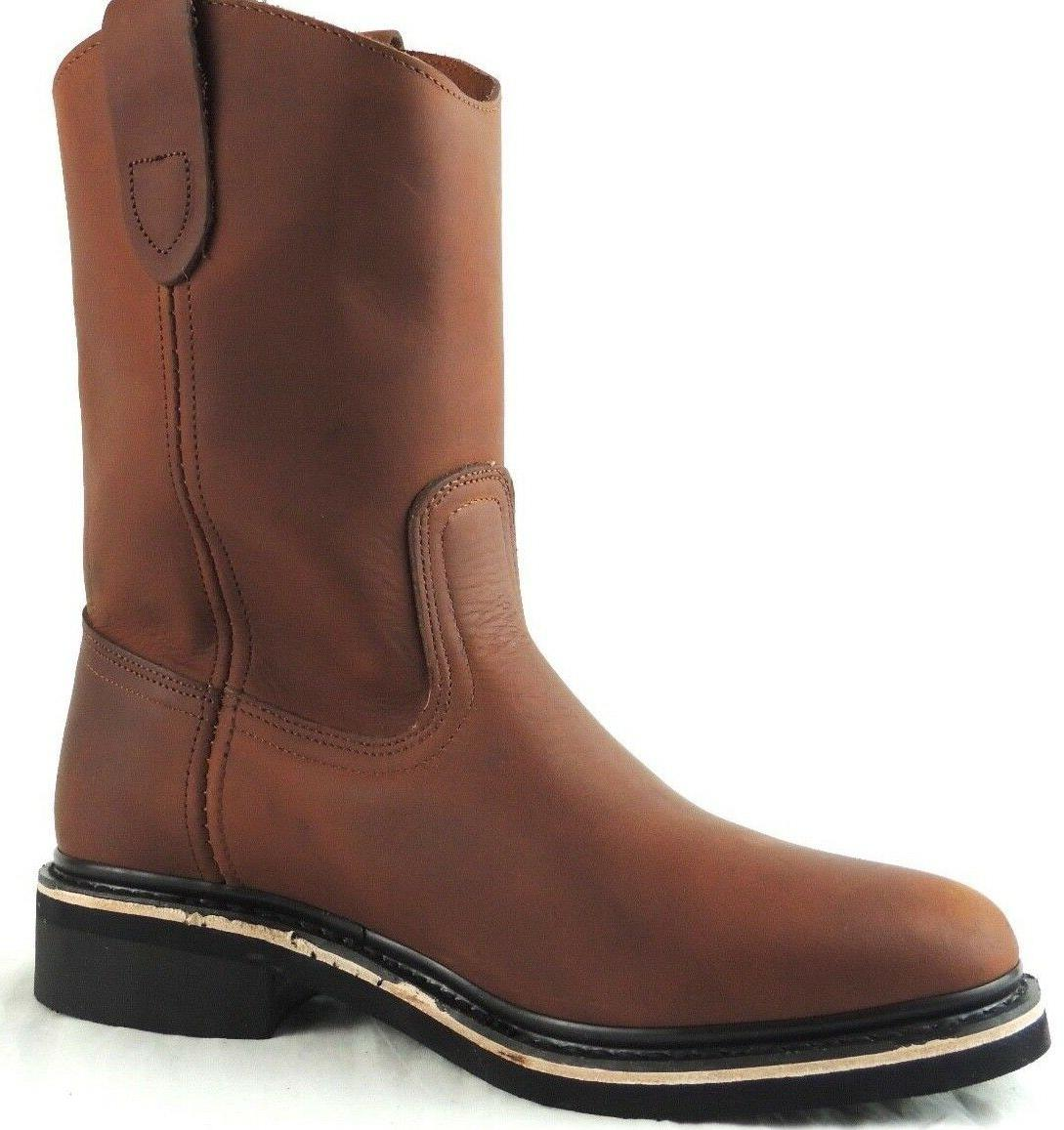 MEN'S WORK BOOTS GENUINE LEATHER BOTAS COWBOY PULL ON