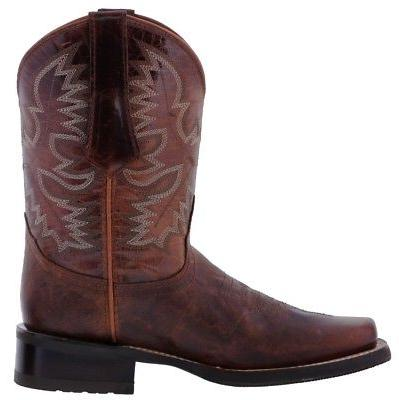 Mens Cognac Work Saddle Style Western Square All Real Leather
