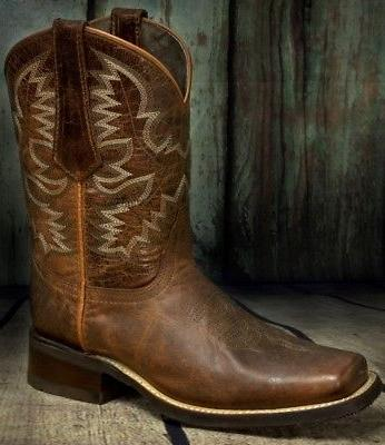 Mens Style Western Square Leather