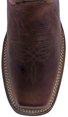 Mens Cognac Work Saddle Square Toe Real Leather