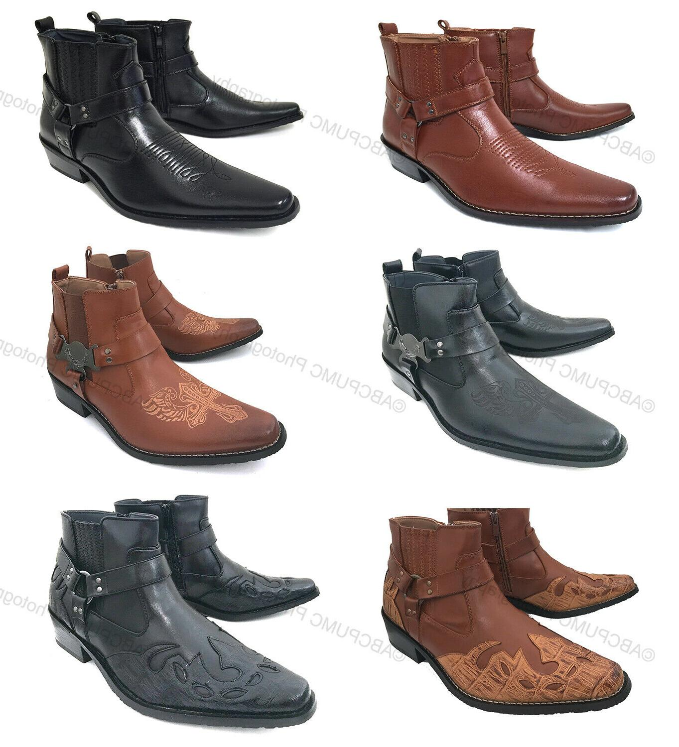 mens cowboy boots western leather lined ankle
