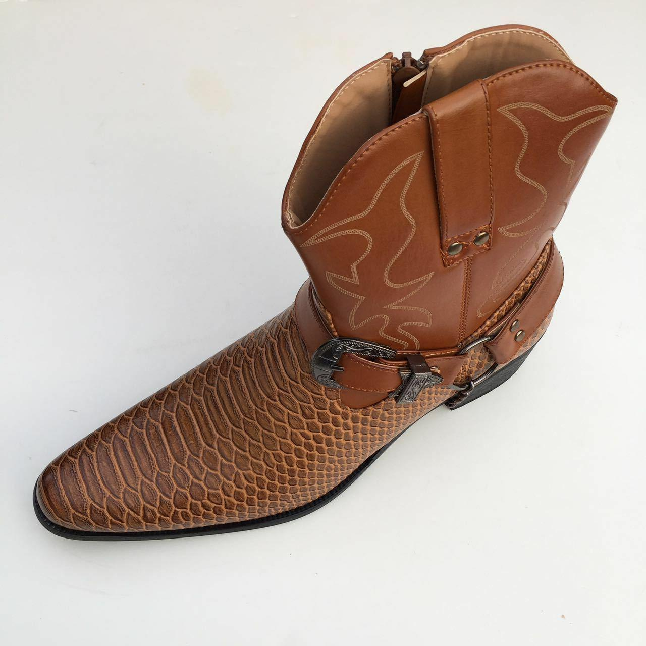 Men's Boots Western Snake Skin Buckle Harness Shoes,