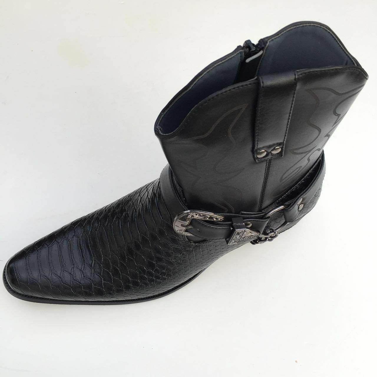 Men's Boots Western Snake Skin Zippper Buckle Harness