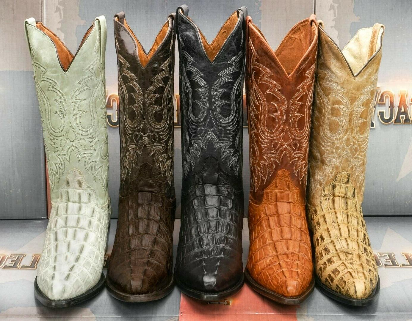 Mens Western Boots Crocodile Tail Pattern Cowboy Rodeo Genui