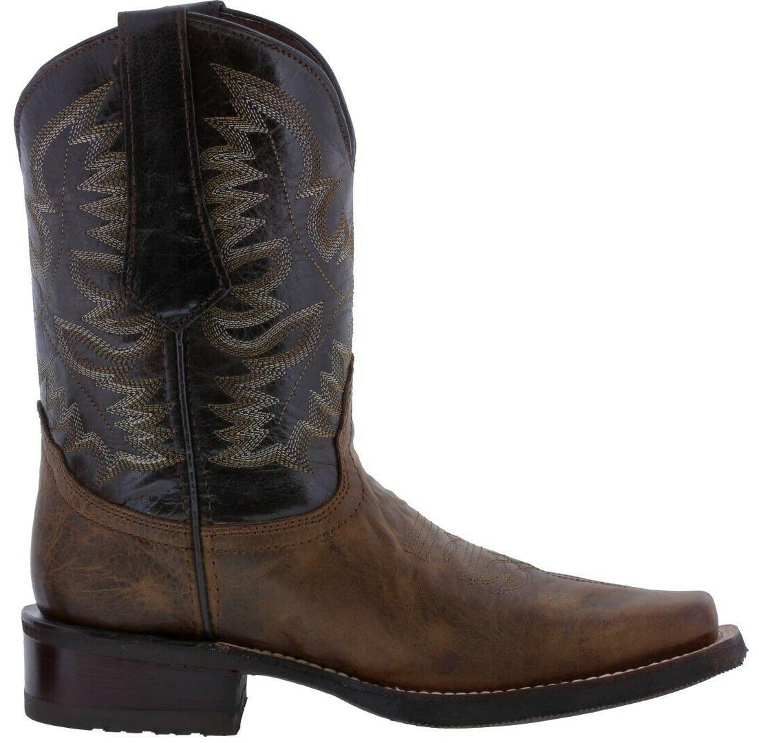 Mens Western Dark Real Leather Classic Rodeo Square Botas