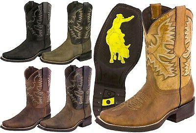 mens western cowboy boots square toe genuine