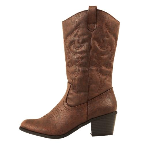 miami cowboy western boots brown pu 7
