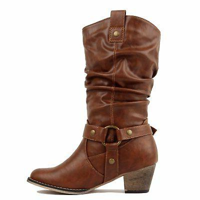 West Blvd - - Cowboy Western Embroidery Stitching Chunky Heel Bo...