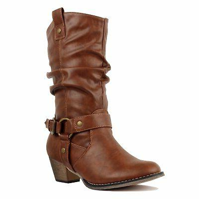 West Blvd - - Cowboy Embroidery Stitching Chunky Heel Bo...