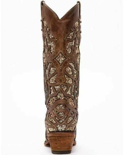 New Corral Brown Glitter Inlay Snip Boot 8.5