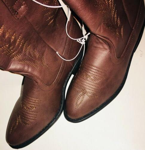 NEW Girls cowboy cowgirl Boots TAN Pull On Faux 1,2,11,12