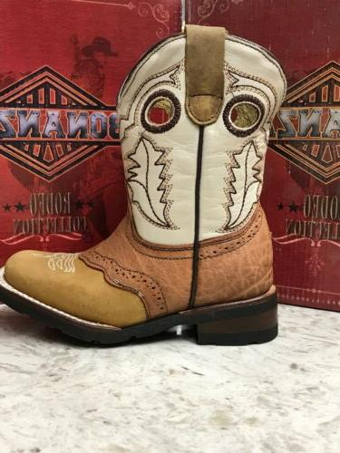 NEW Kids Cowboy 8.5 TAN,Real Leather, Mexico.